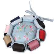 Neoviva Fabric Coated Pin Cushion for Needlework with 8 Replaceable Rolls of Thread in Different Colours, Floral Blue Ocean