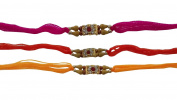 Set of Three Rakhi thread, Raksha bandhan Gift for your Brother, Yellow, Orange and Pink Colour
