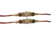 Set of Two Rakhi, White Moti Thread. Rakhi, Raksha Bandhan Gift for your Brother, Red Colour Thread.
