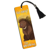 Porcupine Go Away I'm Reading Printed Bookmark with Tassel