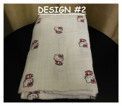 New - Hello Kitty Baby Blanket design on 100% Muslin Cotton - SWADDLE Cloth cute