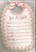It's a Girl Baby Bib Single-Panel Announcements 8 Cards