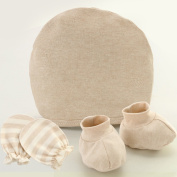 Fairy Baby Organic Cotton Newborn Mittens, Booties And Hat Gift Set,Khaki
