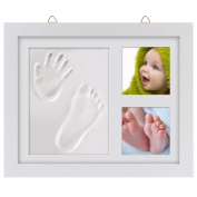 Baby Hand and Footprint Frame Kit, PChero Baby Frame Keepsake Priceless Memories - Hanging Picture Frame with Safe Acrylic Glass and Clay, Perfect Gift for Baby Showers & Baby Registry - [White]