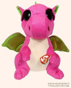 "New TY Beanie Boos Cute Buddy - DARLA the Pink & Green Dragon (Glitter Eyes) (Medium Size - 9 inch) Plush Toys 9"" 25cm Medium Ty Plush Animals Big Eyes Eyed Stuffed Animal Soft Toys for Kids Gifts"