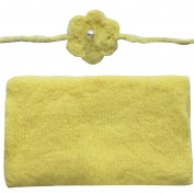 FEESHOW Baby Soft Stretch Crochet Knit Mohair Wrap Cloth Blanket with Flower Headdress