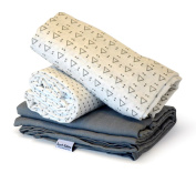 Receiving Blanket by Rench Babies - 3-Pack Muslin Swaddle Blankets for Boys & Girls