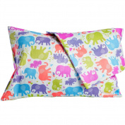 2 Toddler Pillowcases, 13 x 18, Fun Colourful Elephants Design, 100% Cotton, Soft, Machine Washable