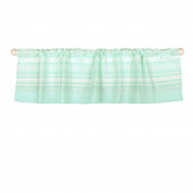 Mint Green Tribal Print Window Valance by The Peanut Shell - 100% Cotton Sateen