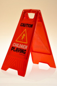 "Children Playing Yard and Driveway Caution Sign (Double-Sided, Red) - ""Caution, Children Playing"""