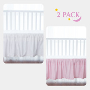 TillYou 100% Combed Cotton Sateen 2 Pack Crib Skirt, Pink and White with Ruffle