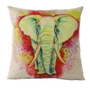 Colourful Elephant Wild Animal Linen Burlap Cushion Cover Pillow Case