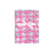 Baby Gear Plush Boa Ultra Soft Baby Girls Blanket 30 x 40 Pink Bears & Hearts