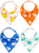 Nikitony Baby Bandana Drool Bibs - Super Soft With Adjustable Snaps - More Absorbent Than Cheap Single Layer Bibs - Cute Unisex Baby Shower Gift Set Of Origami Style - 4 Pack
