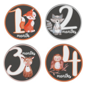 Fawn Hill Co Monthly Baby Stickers for Onesie - Milestone Month Sticker - Gender Neutral - Woodland Forest Animals