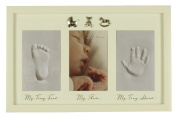 Baby Hand, Foot Print and Photo Frame With Three Silver Icons By Haysom Interiors
