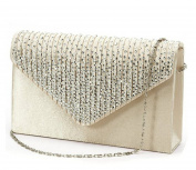 Women Rhinestone Frosted Clutch Bag, Clorislove Classic Pleated Envelope Clutch Shoulder Bag Evening Handbag Purse