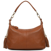 Yaluxe Women's Double Zippered Pockets Leather Top Handle Handbag Cross Body Shoulder Small Bag