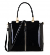 Designer Fashion Ladies Medium Size Patent / Plain Bag Women's Tote Zip Detail Handbags Quality Faux Leather Bags CWKP9298