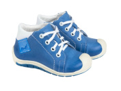 Emel Handcrafted Leather Childrens First Steps shoes Handmade in the EU - Blue Leather Lace Up Trainers