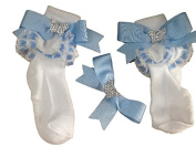 Handmade White and Baby blue Lace Butterfly Bling Hairclip and SOck Set