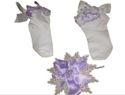 Handmade Lilac flower clip and sock set