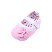 JACKY Baby Shoes,Girls Flower Soft Sole Toddler PU Leather Crib Shoes (S