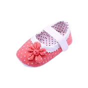 JACKY Baby Shoes,Girls Flower Soft Sole Toddler PU Leather Crib Shoes (L