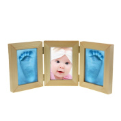 BAO CORE Baby Printing Impression Kits Triple-Fold Keepsake Frame Clay Babyprint Handprint Footprint Wooden Photo Frame for Baby Boys Girls From Birth to 12 Month Baby Shower Christening Gift Birthday Christmas Gift, Wood Colour Frame, Blue Clay