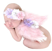 Baby Photography Props Infant Lace Headbands with Feather Wings Set Photo Props Outfits