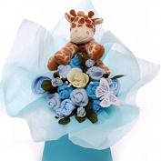 Baby bouquet with soft plush rattle giraffe.