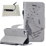 iPhone 6S Case Grey,iPhone 6/6S Leather Case,TOCASO Book Style Lightweight Embossed Pattern Soft Silicone inner Back Cover PU Leather Magnet Anti Scratch Flip Wallet Case With Stand Function and ID Credit Card Slots Design Feather and Birds Pattern Sli ..