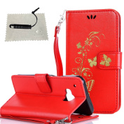 HTC One M9 Case Red,HTC One M9 Flip Cover Butterfly,TOCASO Thin Lightweight Colour Pattern PU Leather Embossed Gold Glitter Butterfly Flower Soft Silicone Inner With Hand Strap Full Body Protection Holster with Build-in Stand Up View Function ID Credit ..