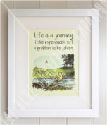 Winnie the Pooh 30cm x 25cm FRAMED QUOTE PRINT, New Baby/Birth, Christening, Nursery Picture Gift, Pooh Bear, Life is a journey to be experienced