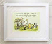 Winnie the Pooh 30cm x 25cm FRAMED QUOTE PRINT, New Baby/Birth, Christening, Nursery Picture Gift, Pooh Bear, Christopher Robin, Piglet, Owl, Rabbit, As soon as I saw you I knew an adventure was going to happen