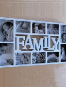 WXD English Word Family White ABS Photo Wall Frame Collection Set of 10