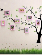 WXD Pink Photo Frame Set of 10 with Wall Sticker