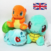 3X Pokemon Plush Doll Toy For Kids - Bulbasaur, Charmander, Squirtle Animal Figures Teddy for Kids - Soft and Cute Pokedoll For Gift