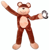 Snuggieboo Pacifier Holder - Teddy Bear with Rattle - Funny Plush Stuffed Animal Toy Doll Leash Clip. Will Hold Most Loop Pacifiers 100% Washable Polyester Material. Lifetime Guarantee