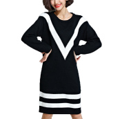 MelBedy Women's Long Sleeve Knitting Simple Sweaters Stripes Long Tunic Dress Shirt