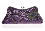 Big Stylish Shining sequins Beaded Peacock Handbag Wedding Party Clutch Purse Trapezoid Evening Bag