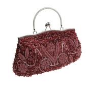 KKwell Beaded Sequin Design Metal Frame Kissing Lock Satin Interior Evening Clutch
