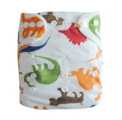 Alva One Size Washable Reusable Minky Cloth Nappy for 2.7-15kg Baby (Dinosaur) with Two Inserts M12