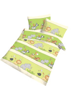 IDO Renforce Baby Animal Friends Bed Linen 100 x 135 + 40 x 60 cm Green