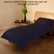 COT BED DUVET COVER WITH PILLOWCASE- SUPERIOR NATURAL COTTON RICH 120 X 150 CM - NAVY BLUE