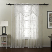 Elegant and generous, supple feel,Graceful Embroidery Sheer With Valance Curtain Set , Tab Top-2* , Tab Top-2*.Good material, not carved colour, long-term durability