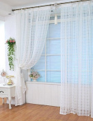 Elegant and generous, supple feel, 100 * 200 cm Solid Grommet Top Square Lattice Living Room sheer Curtain , rod pocket.Good material, not carved colour, long-term durability