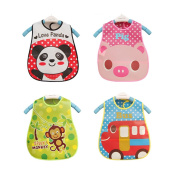 Veewon Lovely Cute Cartoon Pattern Unisex Toddler Waterproof Baby Bibs with Food Catcher Pocket, 4 Pack