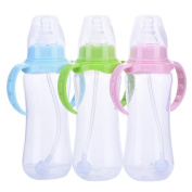 Yunt 240ml Slim Baby Straw Cup Drinking Bottle Sippy Cups With Handles Children Cup