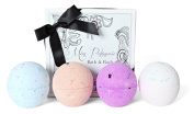 Miss Patisserie AromaFizz Aromatherapy Bath Bomb Selection includes 4 bath bombs; Calming Bath, Happy Bath, Clearing Bath, Balancing Bath